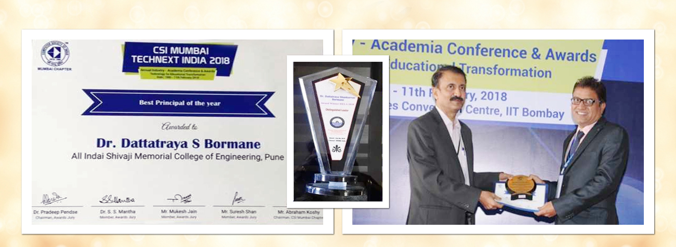 "<p>""Distinguished Leader"" By Venus International Foundation Chennai on 6th Jan 2018 ""Best Principal Of the Year"" 2018 By Computer Society of India (CSI) Mumbai on 10th Feb 2018 ""Education Leadership Award"" by DNA Innovative Education Leadership Awards Mumbai on 16th Feb 2018</p>"