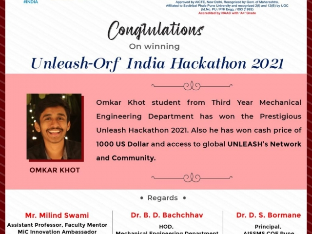 """Hearty Congratulations to Omkar Khot from our TE Mechanical Engineering who has won the prestigious """"Unleash Hackathon 2021"""". The award comes with a cash price of 1000 USD and a premium access to global Unleash's Network and Community. We are extremely proud of his achievements and wish him the very best for all future endeavours."""